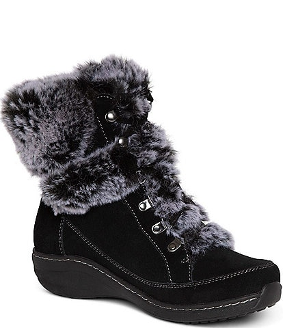 Aetrex Fiona Waterproof Leather Faux Fur Winter Booties