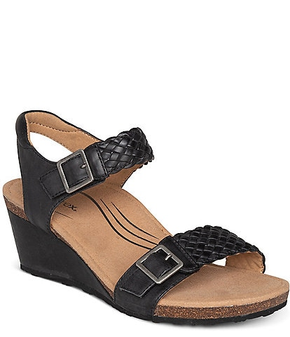 Aetrex Grace Woven Leather Wedge Sandals