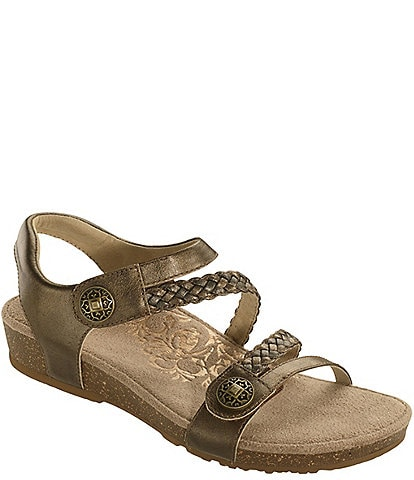 Aetrex Jillian Braided Leather Cork Wedge Sandals