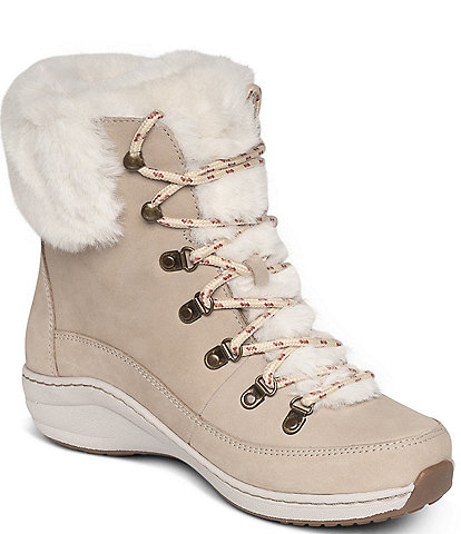 Aetrex Jodie Leather Faux Fur Waterproof Lace-Up Winter Booties
