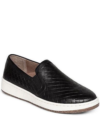 Aetrex Kenzie Woven Embossed Leather Slip-Ons