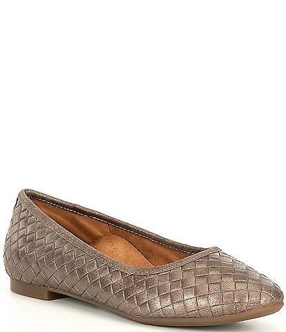 Aetrex Lyla Nvy Woven Leather Slip On Flats