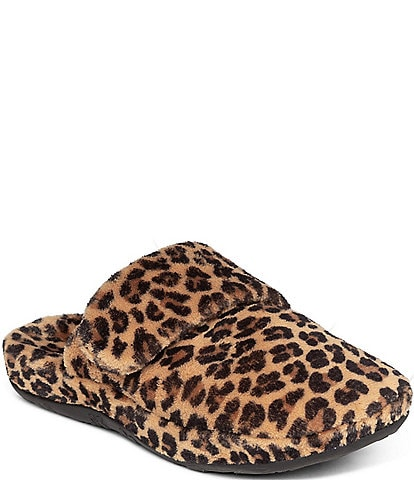Aetrex Mandy Leopard Print Closed Toe Slippers