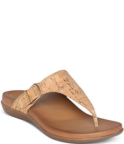 Aetrex Rita Cork Print Thong Flip Flop Sandals