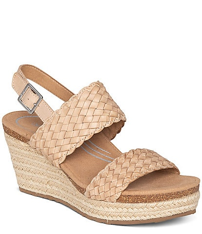 Aetrex Summer Woven Espadrille Wedge Sandals