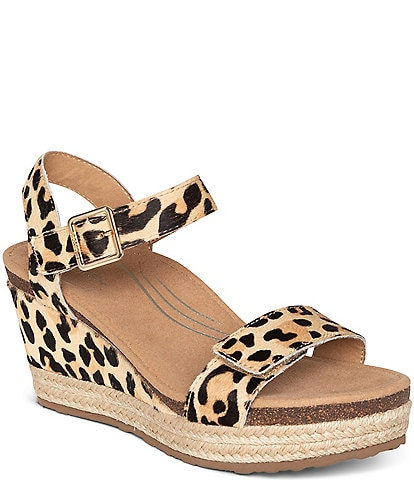 Aetrex Sydney Leopard Print Haircalf Wedge Espadrille Sandals