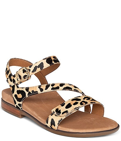 Aetrex Tia Leopard Print Leather Strappy Sandals