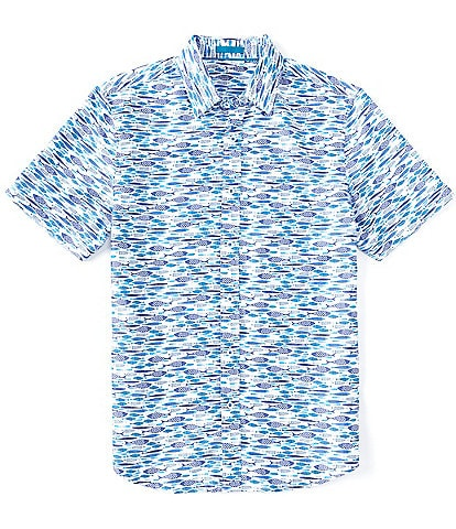 Age Of Wisdom Fish Print Short-Sleeve Woven Shirt