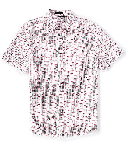 Age Of Wisdom Flamingo Print Short-Sleeve Woven Shirt