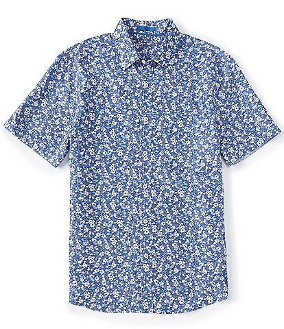 Age Of Wisdom Floral Print Navy Short-Sleeve Woven Shirt