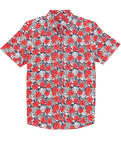 Age of Wisdom Floral Print Short-Sleeve Woven Shirt