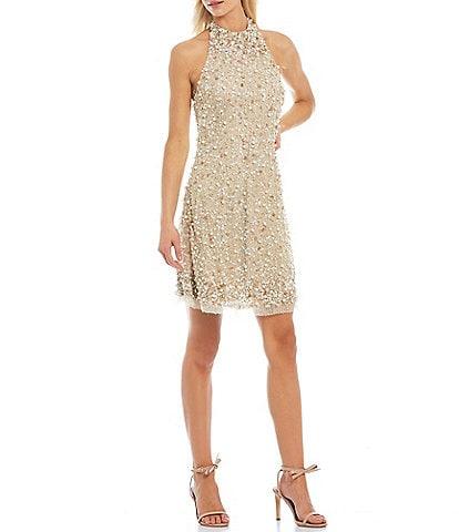 Aidan Aidan Mattox Beaded Halter A-Line Embellished Dress