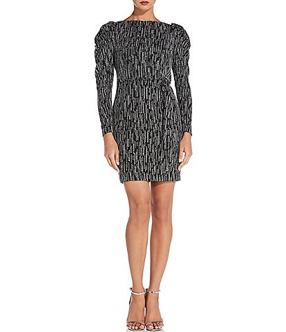 Aidan Aidan Mattox Boat Neck Long Puff Sleeve Metallic Knit Blouson Mini Dress
