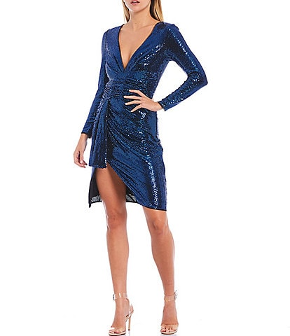 Aidan Aidan Mattox Deep V-Neck Long Sleeve Draped Stretch Metallic Sparkle Knit Sheath Dress
