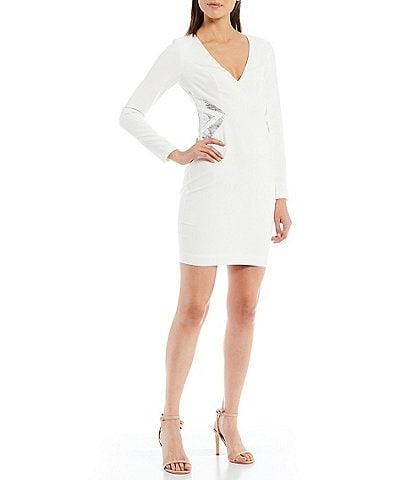 Aidan Aidan Mattox Deep V-Neck Long Sleeve Side Sequin Sheath Mini Dress