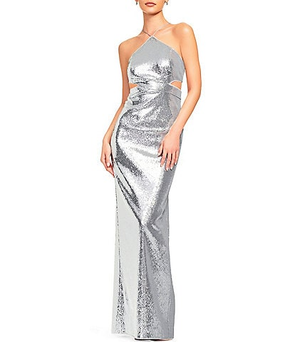 Aidan Aidan Mattox Halter Neck All-over Sequin Cut Out Column Gown