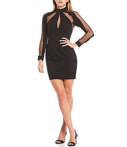 Aidan Aidan Mattox Mesh Cutout Stretch Crepe Long Sleeve Mini Sheath Dress