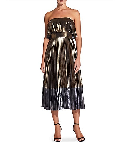 Aidan Aidan Mattox Metallic Colorblock Pleated Strapless Popover Midi Dress
