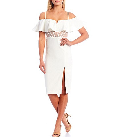 Aidan Aidan Mattox Off The Shoulder Corset Sheath Midi Dress