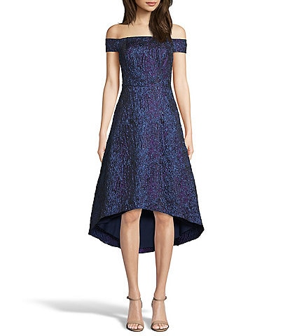 Aidan Aidan Mattox Off-the-Shoulder Metallic Jacquard Hi-Low Dress