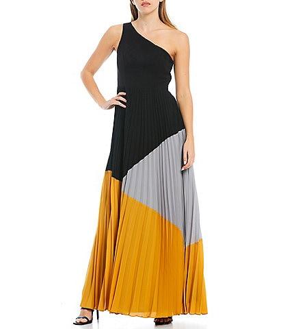 Aidan Aidan Mattox One Shoulder Asymmetrical Neck Color Block Gown
