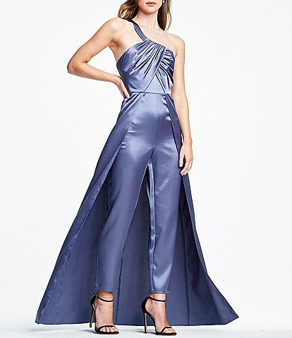 Aidan Aidan Mattox One Shoulder Ruched Bodice Walk Thru Satin Jumpsuit