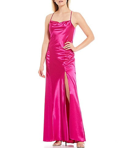 Aidan Aidan Mattox Open Back Liquid Satin Gown