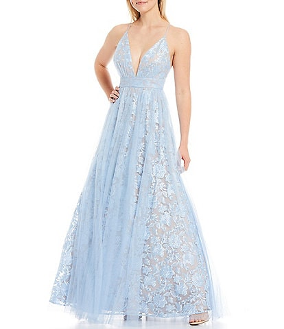 Aidan Aidan Mattox Plunging V-Neck Embroidered Mesh Overlay Ball Gown