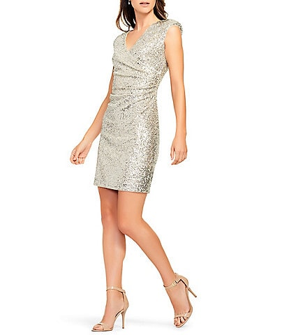 Aidan Aidan Mattox Sequin Faux Wrap Surplice V-Neck Dress