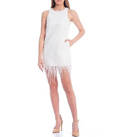 Aidan Aidan Mattox Sequined Feather Trim Shift Dress