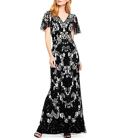 Aidan Mattox Allover Beaded Flutter Sleeve Column Gown