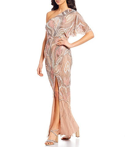Aidan Mattox Asymmetric Flutter Sleeve Beaded Gown