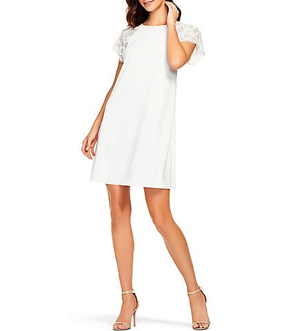 Aidan Mattox Beaded Mesh Short Sleeve Crepe Shift Dress