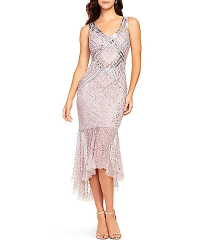 Aidan Mattox Beaded V-Neck Sleeveless Ruffle Hi-Low Sheath Midi Dress