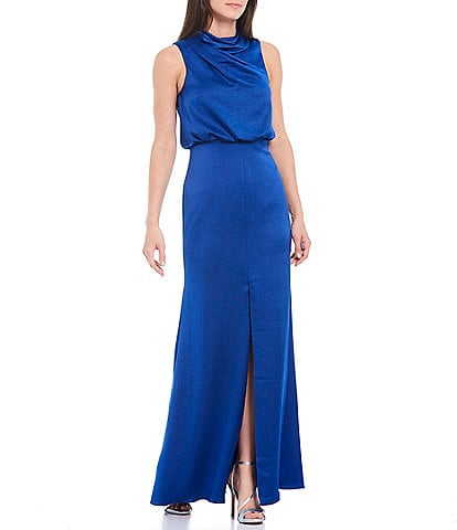 Aidan Mattox Draped Bodice Mock Neck Sleeveless Hammered Satin Blouson Gown