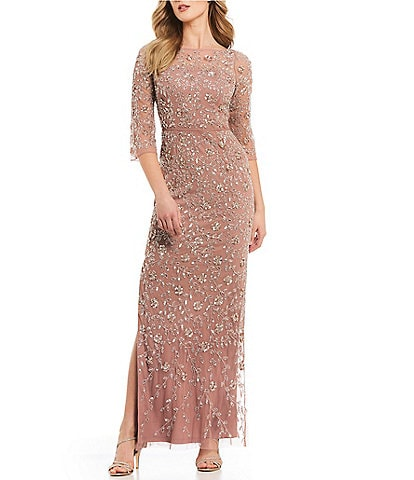 Aidan Mattox Floral Beaded Side Slit Hem Gown