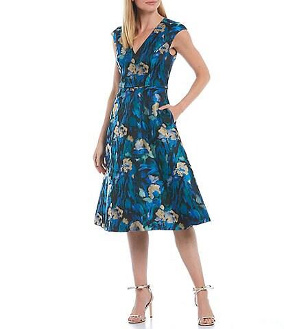 Aidan Mattox Floral Jacquard V-Neck Cap Sleeve Midi Dress