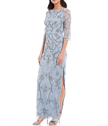 Aidan Mattox Fully Beaded 3/4 Sleeve Column Gown
