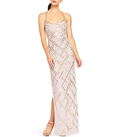 Aidan Mattox Halter Neck Sleeveless Side Slit Beaded Gown