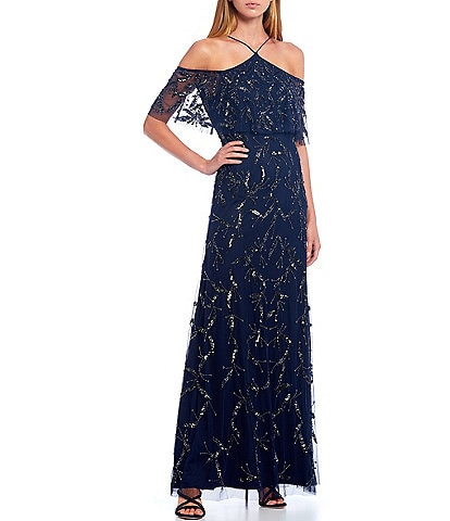 Aidan Mattox Hand Beaded Halter Neck Cold Shoulder Popover Gown