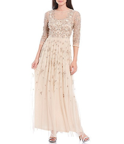 Aidan Mattox Illusion 3/4 Sleeve Beaded Mesh A-Line Gown