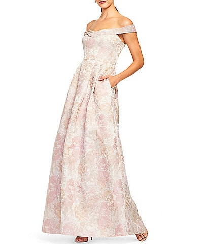 Aidan Mattox Off-The-Shoulder Cap Sleeve Gown Floral Jacquard Pleated Waist Ball Gown with Pockets
