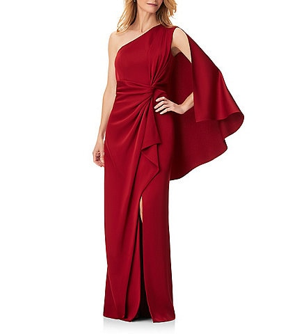 Aidan Mattox One Shoulder Capelet Sleeve Side Knot Slit Satin Gown