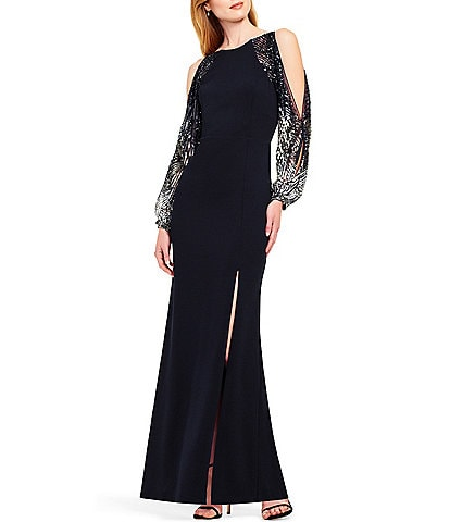 Aidan Mattox Scoop Back Beaded Sleeve Cold Shoulder Crepe Gown