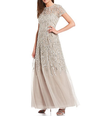 Aidan Mattox Short Sleeve Beaded A-Line Gown