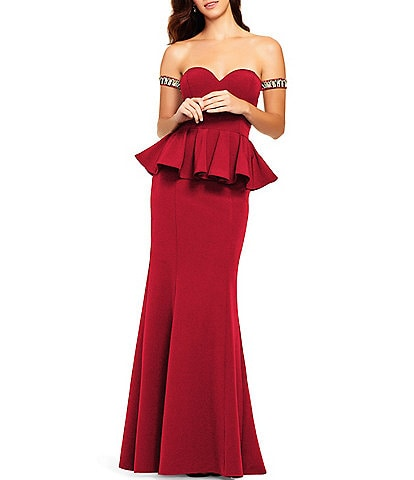 Aidan Mattox Sweetheart Neck Beaded Arm Cuff Peplum Waist Gown