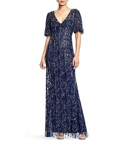 Aidan Mattox V-Neck Balloon Sleeve Beaded Mesh Gown