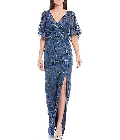 Aidan Mattox V-Neck Split Flutter Sleeve Beaded Mesh Gown