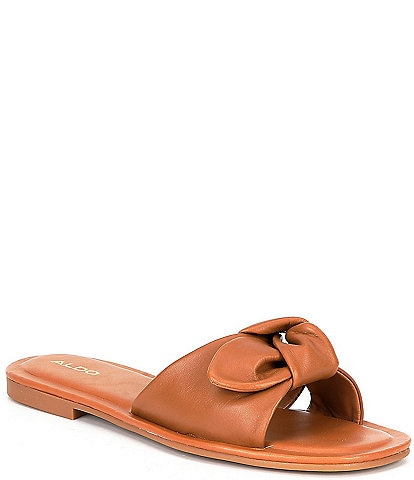 ALDO Abayrith Leather Bow Flat Slide Sandals