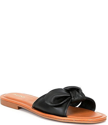 ALDO Abayrith Leather Bow Flat Square Toe Slide Sandals